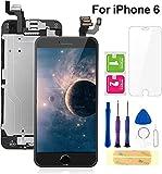 FLYLINKTECH écran pour iPhone 6 Noir 4,7' LCD de Remplacement Complet - préassemblés LCD avec capteur de proximité, caméra Frontale, écouteur et Plaque arrière en métal Kit d'outils de réparation