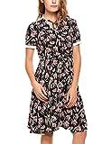 Beyove Damen Elegant Kleid Sommerkleid Knielang mit Kurzarm Rockabilly Kleid Blumenkleid Ärmellos Stretch Skaterkleid Strandkleid Partykleid (L, Schwarz)