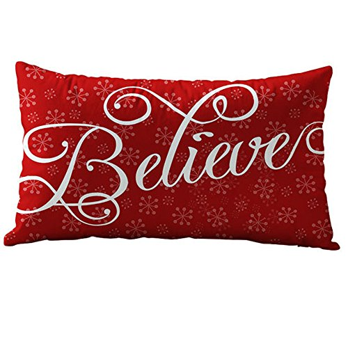 Throw Pillow Covers, E-Scenery Clearance Sale! Christmas Rectangle Decorative Throw Pillow Cases Cushion Cover for Sofa Bedroom Car Home Decor, 20 x 12 Inch (F)