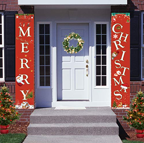 HOPEME Christmas Decorations Porch Sign Outdoor Decor 70x13 Inch Merry Christmas Ornament Hanger for Party Display, Doorway Banners, Porch Home Yard Christmas Banner Welcome Signs