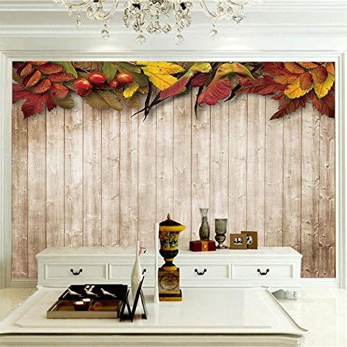 Papeles Pintados Murales 300X210Cm Valla De Madera Marrón Con Hojas De Frutos Rojos,Mural Papel Pintado,Fotomurales Salón Dormitorio Decoración De Paredes Moderna Wallpaper