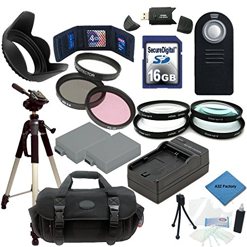 """Best Value Canon EOS Rebel T2i, T3i & T4i Digital SLR Camera Essential Kit: Includes - 58mm 3 Piece Filter Kit (UV,CPL,FLD) 4 Piece Macro Lens Set (Diopters:+1+2+4+10) 16gb SDHC Class 10 Memory Card with Reader, 2 Canon LP-E8 Replacement Batteries & Rapid External Charger, 50"""" Tripod, Shockproof Carrying Case, Tulip Lens Hood and more..."""