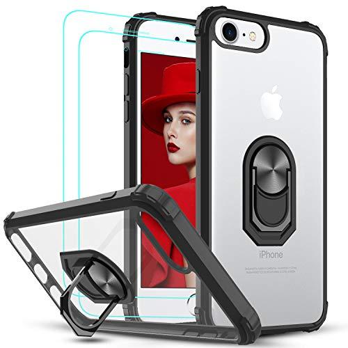 LeYi Funda iPhone 8/7, iPhone 6s / 6, iPhone SE (2020) con [2-Unidades] Cristal Templado,Transparente Case con 360 Grados iman Soporte...