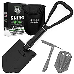 powerful Rhino USA Foldable Survival Excavator with Pickaxe – Rugged Carbon Steel with Military Bracket…