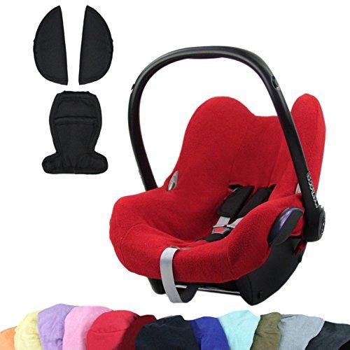 Bambini Mundo nevera Oferta funda de verano, colchón, funda de rizo + Cinturón acolchado para Maxi Cosi cabriofix rojo rot +schwarz