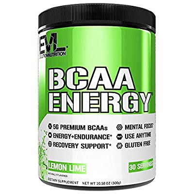 Evlution Nutrition BCAA Energy - Essential BCAA Amino Acids, Vitamin C, + Natural Energizers for Performance, Immune Support, Muscle Building, Recovery, B Vitamins, Pre Workout, 30 Serve, Lemon Lime