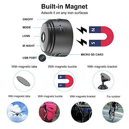Mini Kamera, Full HD 1080P Tragbare Kleine WLAN Überwachungskamera Mikro Nanny Cam mit Bewegungserkennung und Infrarot Nachtsicht Compact Sicherheit Kamera für Innen und Aussen mit Einer 32G SD-Karte