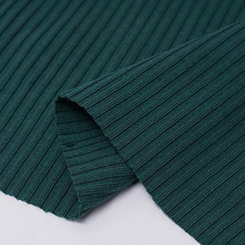 Puur katoenen effen stof, legging met pitkoord met schroefdraad, geribd katoen-Donkergroen