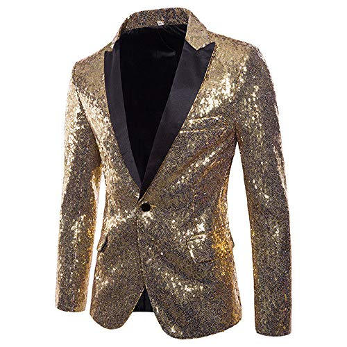 Herren Shiny Pailletten Anzug Multi Farbe und Größe der Männer Hübsche Jacken-Blazer für Nachtklub, Hochzeit, Partei (Large, Gold)