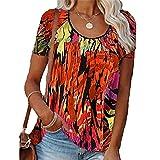Elesoon Camiseta de verano para mujer, talla grande, impresión abstracta, geométrica, colorida, cuello redondo, ajuste holgado, para mujer, A-naranja., 50