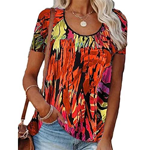 Elesoon Camiseta de verano para mujer, talla grande, impresión abstracta, geométrica, colorida, cuello redondo, ajuste holgado, para mujer, A-naranja., 42