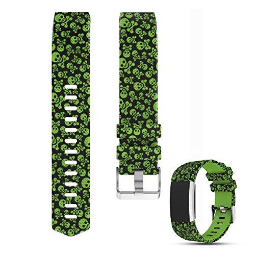 iFeeker Uhrenarmband aus weichem Silikon, Zubehör für Fitbit Charge 2 One Size Green Skeleton