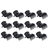 Tongina 12 x Hot Roller Hair Curler Claw Clips - Plastic Hair Rollers for Jumbo Hair Rollers Great Tool to Section And Hold Hair, Beige/Black to Choose - Black