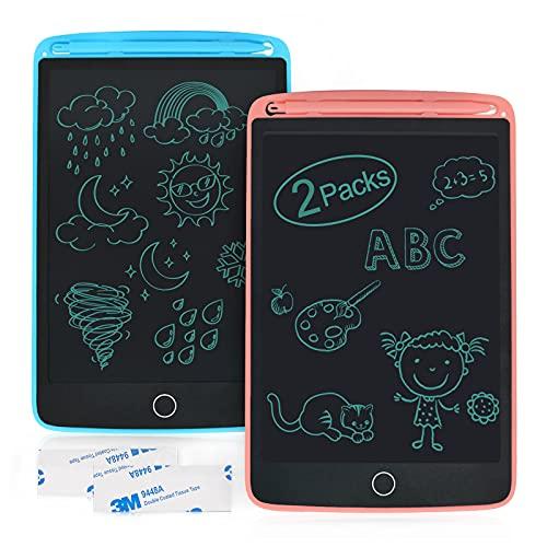 Enotepad Tablero de Escritura LCD Paquete de 2, Tablero de Dibujo de 8.5 Pulgadas con 4 Imanes, Bloc de Notas Borrable, Bloc de Notas Portátil Electrónico para Tableta para Niños(Rosa+Azul)
