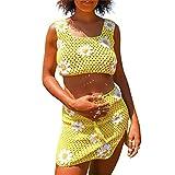Mini falda de punto floral para mujer conjunto de flores bordado Crop Tank Top con falda de ganchillo Y2K E-Girl 2PCS Streetwear