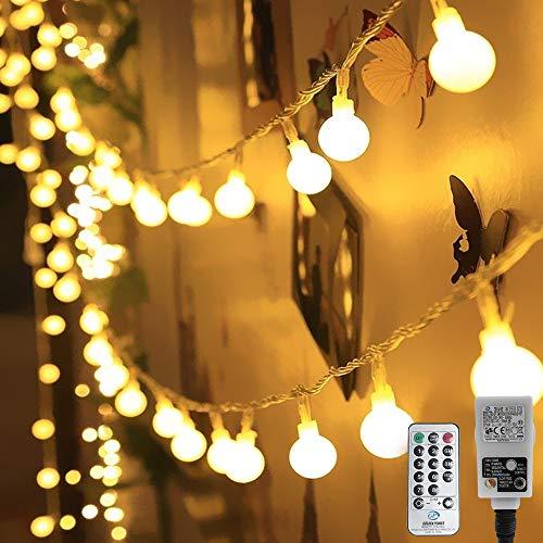 HAUSPROFI Guirnalda de 100 luces LED, 10 m, con mando a distancia, 8 modos de luz y brillo regulable,resistente al agua para interior y exterior, ideal para iluminación de Navidad, decoración