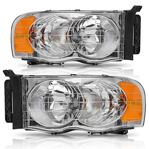 Koplamp montage voor 2002-2005 Dod-ge Ram Pickup Truck OE Stijl Vervangende Koplampen Chroom Behuizing met Amber Reflector Clear Lens (Passenger en Driver zijde)