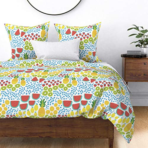 Best Prices! Roostery Duvet Cover, Fruit Summer Pineapple Picnic Kids Watermelon Print, 100% Cotton Sateen Duvet Cover, King