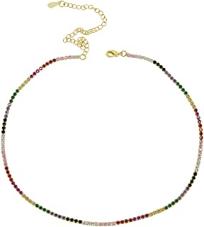Gold Silver Color 2mm Prong Setting Tennis Chain Rainbow cz Women Choker Necklace