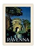 Pacifica Island Art Póster de Ravenna, Italia (Italia) - Mausoleo de Teodoric The Great - Vintage Travel Poster por Attilio Ravaglia c.1920s - Lienzo impreso orgánico RAW (61 x 81 cm)