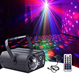 Party Lights DJ Disco RGB Laser Light with Remote Control, Sound Activated LED Colorful Patterns Projector Stage Strobe Lights Decorations for Birthday Parties Wedding KTV Bar Christmas Halloween