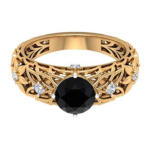 Anillo solitario de ónix negro de 7 mm, anillo de diamante HI-SI 1/3 quilates, joyería de oro, anillo de compromiso Vitage, 18K Oro amarillo, Size:EU 65