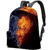 Bolsa de Libros para Estudiantes universitarios se Adapta a una Mochila para portátil de 15,6 Pulgadas, para Viajes, al Aire Libre, Escuela, Escuela, corazón ardiente en Fuego y Agua