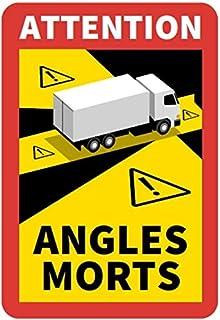 """STROBO 6 sztuk naklejek z napisem """"Attention Angles Morts"""" do samochodów ciężarowych i przyczep kempingowych, 25 x 17 cm, ..."""