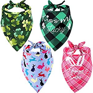 Weewooday 4 Pieces St. Patrick's Day Dog Bandana and Easter Dog Bandana Pet Triangle Bibs Dog Cat Costume Accessories for Small Medium Dogs