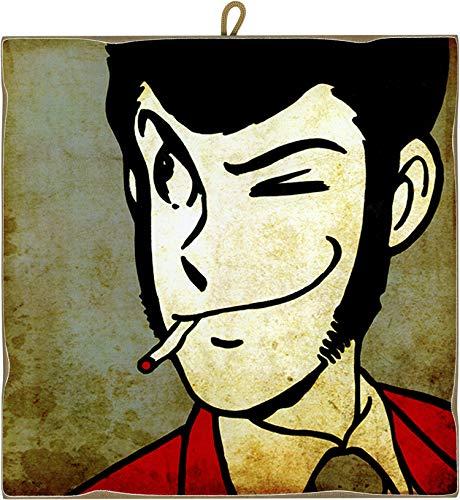KUSTOM ART Quadro Quadretto Stile Vintage Serie Fumetti Lupin III: Lupin da Collezione Stampa Laser su Legno Alta qualità Made in Italy - Idea Regalo