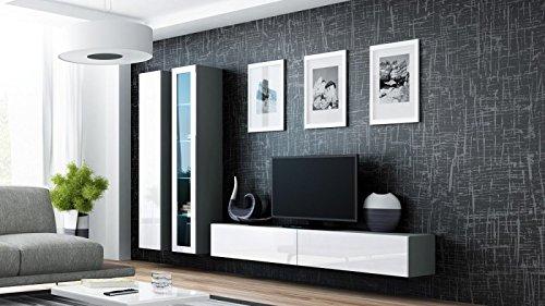 Jadella Wohnwand \' Vigo 3\' Hochglanz Hängeschrank Lowboard Cube, Farbe:Grau Weiß