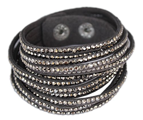 Velvet wrap bracelet with Rhinestones - Grey with Hematite Rhinestones
