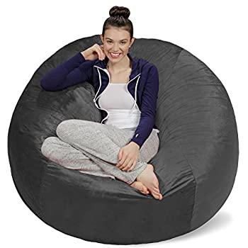 Sofa Sack Plush Ultra Soft Memory Bean Bag Chair with Microsuede Cover Stuffed Foam Filled Furniture and Accessories for Dorm Room 5-Feet Charcoal