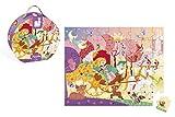 Janod Puzzle 54 piezas con maleta redonda, Princesa y Carroza (J02875)