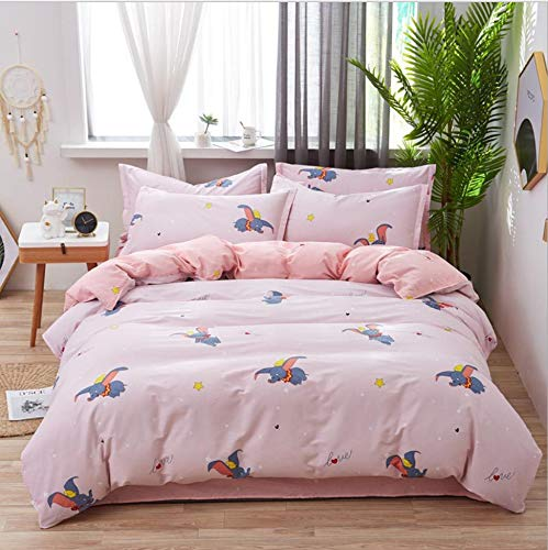 DUIPENGFEI Autumn And Winter Pure Cotton Simple Style, Quilt Cover, Bed Sheet, 2 Pillowcases, 4 Piece Set On The Bed, Cute Dumbo, Suitable For 1.5-1.8m Bed