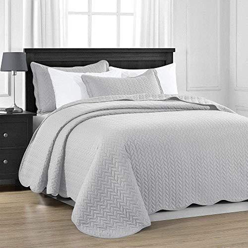 MOONLIGHT20015 Gesteppte Tagesdecke für King-Size-Bett, 240 x 260 cm + 2 Kissenbezüge, für Schlafzimmer, Dekor, wendbar, geprägt, gesteppte Tagesdecke mit matter Oberfläche