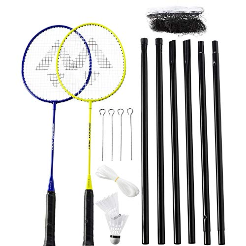 TECNOPRO Herren Speed 200-2 Player + Net Badminton Set, Yellow/Blue, 3 1/2
