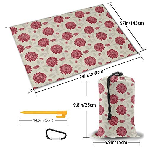 Niet van toepassing Kleurrijke Tijger Picknick Outdoor Mat Park Strand Mat Camping Oversized Draagbare Waterdichte Mat Eén maat Bloom Rouge The Fabric Box