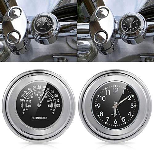 WEHOLY Motorradlenker Chrom Weiß Zifferblatt Uhr und Thermometer, Universal 7/8 '1' Motorraduhr Uhr wasserdicht