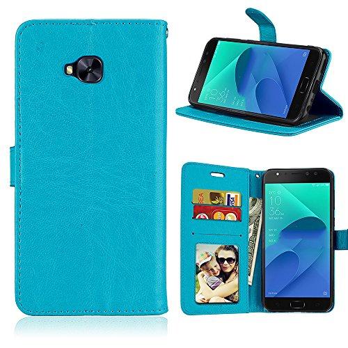 Capa para Asus Zenfone 4 Selfie Pro ZD552KL proteção de couro PU com 3 compartimentos para cartões capa flip (Azul)