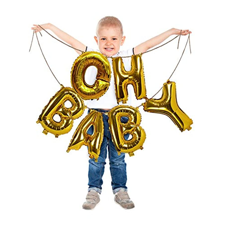Treasures Gifted Oh Baby Gold Letter Balloons 16 Inch Foil Mylar Banner Baby Shower Backdrop Decorations Announcement for Little Girl or Boy at Gender Reveal Party Supplies