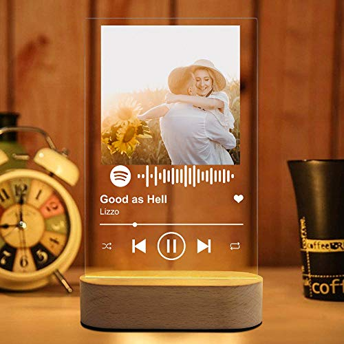 YAGELI Personalized Custom Spotify Acrylic Song Music Plaque Night Light Custom Music Board Lamp Photo Album Cover Light with Base Display Glass Art Gifts Valentine's Day Gifts