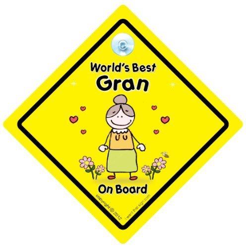 World's Best Granny sur planche, World's Best Granny, bébéà bord, autocollant, Sticker pare-chocs, signe, petit-enfant signe, grands-parents, voiture Panneau, signe, voiture pour bébé, signe, bébé pour bébé, signes, Nanny, grands-parents
