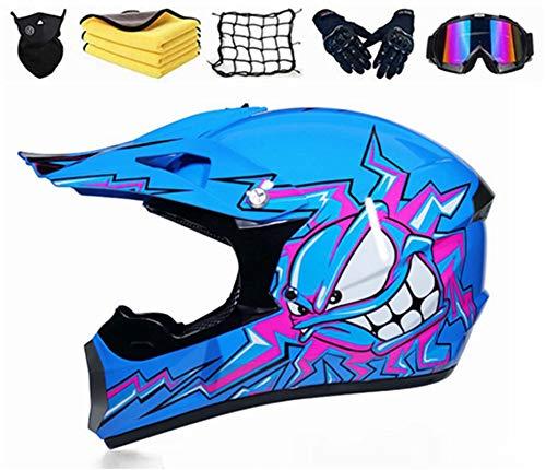 SYANO Bambino esterno Casco da motociclista,Casco da downhill, Casco da cross con mascherina guanti occhiali, per moto, quad, fuoristrada, mountain bike, unisex (M)