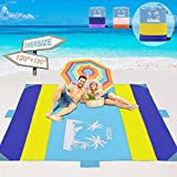 VDSTAR Beach Blanket, Extra Large 120'×120' Picnic Blanket for 5-9 Adults, Triple Anchored with 4 Corner Sand Pockets, 4 Storage Pockets and 5 Stakes, for Vacation,Travel, Camping, Hiking(Yellow)