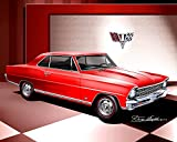1967 CHEVROLET NOVA SS RALLEY RED - ART PRINT POSTER BY ARTIST DANNY WHITFIELD - SIZE 24 X 36