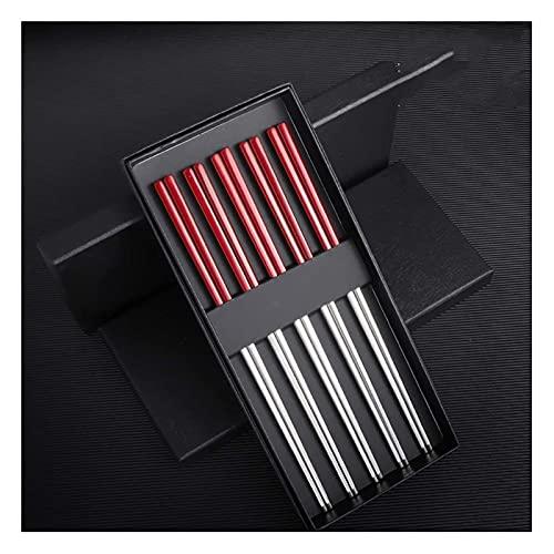 5 pares Reutilizable Multicolor Metal Chopsticks Conjunto de regalo, 23,5 cm Antideslizante Cuadrado de acero inoxidable Palillos chinos Resistente al calor Fácil de guardar Q-23.5cm kit cocina WSYGHP