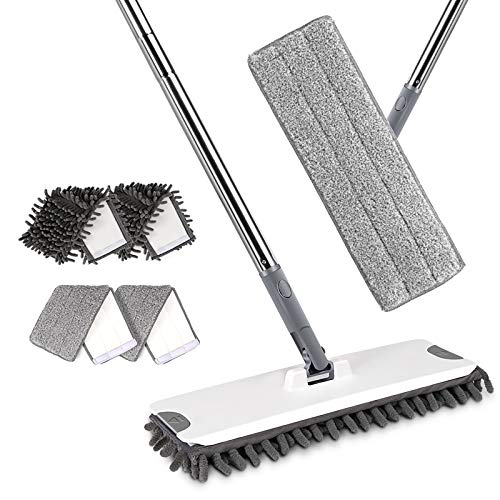 Flat Mop for Floor Cleaning, Microfiber Mop with 4 Chenille Mop Pads, Magic Cleaning Mop, Perfect for Tile, Laminate, Hardwood, Ceramic, Marble