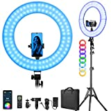 RGB LED Ring Light with Stand/Phone Holder/Remote Controller/APP Control, 18-inch Dimmable Bi-Color 2500K-8500K CRI95 with 17 Special Scenes DC Adapter for Makeup Selfie Video Photography