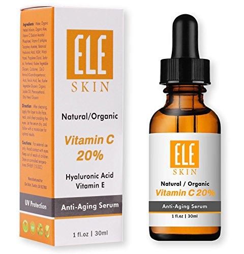 ELE SKIN Vitamin C 20% Serum by ELESKIN USA – Best Anti Aging Clinical Strength, Youthful Skin, Radiant Glow, Heal Sun Damage, Fade Age Spot, Wrinkles and Fine Lines, Stimulate Collagen 1 FL OZ/30 ML
